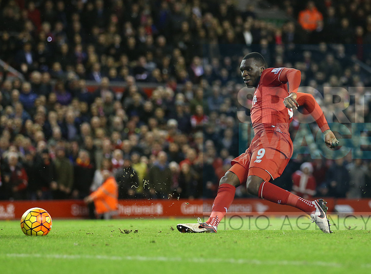 Liverpool's Christian Benteke fires in on target<br /> <br /> Barclays Premier League- Liverpool vs Leicester City - Anfield - England - 26th December 2015 - Picture David Klein/Sportimage