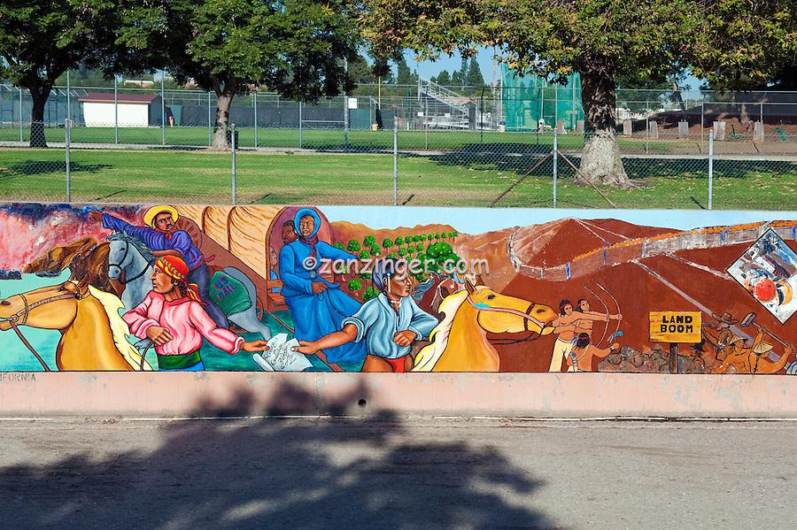 """Divisions of Barrios"" Great Wall Mural, Los Angeles, CA, Tujunga Wash, Sub Watershed, LA River, San Fernando Valley,"