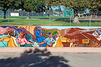 """Divisions of Barrios"" Great Wall Mural, Los Angeles, CA, Tujunga Wash, Sub Watershed, LA River, San Fernando Valley,"