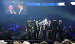 29.09.2012,  O2 World, Hamburg, GER, 1. FBL, Hamburger SV (GER) Geburtstagsgala, im Bild v.l. Moderator Johannes B. Kerner, Olaf Scholz (Erster Buergermeister Hamburg), Guenter Netzer, Moderator Alexander Bommes, Uwe Seeler<br />    Foto &copy; nph / Witke *** Local Caption ***