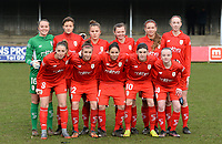 20180127 - AALTER , BELGIUM : Standard's players Lisa Lichtfus , Maurane Marinucci , Karlijn Knapen , Yuna Appermont , Carolina Wolters , Lisa Petry , Charlotte Cranshoff , Justine Blave , Lola Wajnblum , Noemie Gelders and Zoe Van Eynde  pictured posing for the teampicture during the quarter final of Belgian cup 2018 , a womensoccer game between Club Brugge Dames and Standard Femina de Liege , in Aalter , saturday 27 th January 2018 . PHOTO SPORTPIX.BE | DAVID CATRY