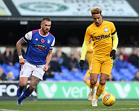 Preston North End's Callum Robinson gets away from Ipswich Town's Luke Chambers<br /> <br /> Photographer David Shipman/CameraSport<br /> <br /> The EFL Sky Bet Championship - Ipswich Town v Preston North End - Saturday 3rd November 2018 - Portman Road - Ipswich<br /> <br /> World Copyright &copy; 2018 CameraSport. All rights reserved. 43 Linden Ave. Countesthorpe. Leicester. England. LE8 5PG - Tel: +44 (0) 116 277 4147 - admin@camerasport.com - www.camerasport.com