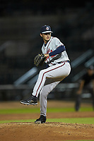 Rome Braves relief pitcher William Woods (12) in action against the Columbia Fireflies at Segra Park on May 13, 2019 in Columbia, South Carolina. The Fireflies defeated the Braves 6-1 in game two of a doubleheader. (Brian Westerholt/Four Seam Images)