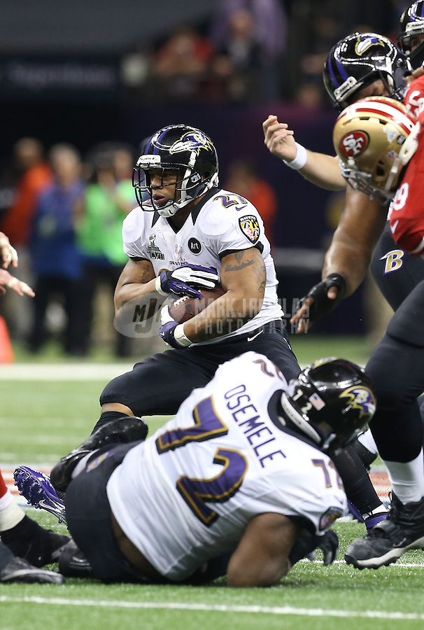 Feb 3, 2013; New Orleans, LA, USA; Baltimore Ravens running back Ray Rice (27) against the San Francisco 49ers in Super Bowl XLVII at the Mercedes-Benz Superdome. Mandatory Credit: Mark J. Rebilas-