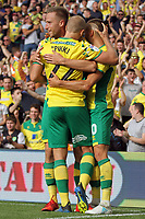 Teemu Pukki of Norwich City celebrates getting the first goal of the game to give Norwich the lead during Norwich City vs Middlesbrough, Sky Bet EFL Championship Football at Carrow Road on 15th September 2018