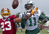 New York Jets wide receiver Robby Anderson (11) is defended by Washington Redskins cornerback Quinton Dunbar (23) as they participate in a joint training camp practice with the Washington Redskins at the Washington Redskins Bon Secours Training Facility in Richmond, Virginia on Monday, August 13, 2018.<br /> Credit: Ron Sachs / CNP<br /> (RESTRICTION: NO New York or New Jersey Newspapers or newspapers within a 75 mile radius of New York City)
