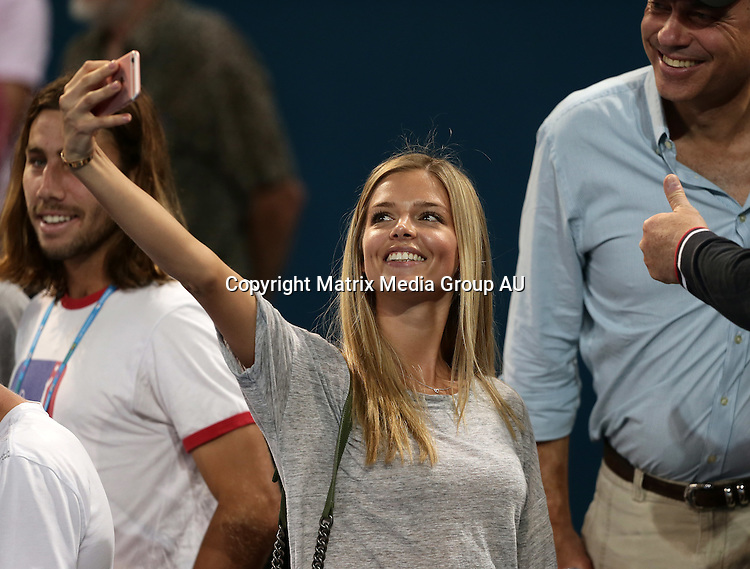 10 JANUARY 2016 BRISBANE AUSTRALIA<br /> <br /> NON EXCLUSIVE<br /> <br /> Canadian model Danielle Knudson was courtside to watch her boyfriend Milos Raonic defeat Roger Federer to win the Brisbane International tennis title.