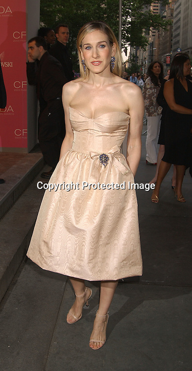 Sarah Jessica Parker in Oscar de la Renta dress                               ..at the CFDA Fashion Awards on June 2,2003 at the ..New York Public Library. Photo by Robin Platzer, Twin Images