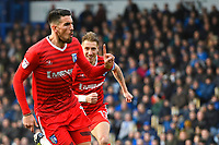 Conor Wilkinson of Gillingham (l) celebrates scoring Gillingham 's first goal with captain Lee Martin (r)  during Portsmouth vs Gillingham, Sky Bet EFL League 1 Football at Fratton Park on 10th March 2018