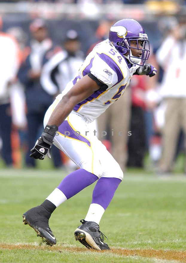 DONTARRIOUS THOMAS, of the Minnesota Vikings, in action during the Vikings games against the Chicago Bears, in Chicago, IL on October 14, 2007.  The Vikings won the game 34-31...........