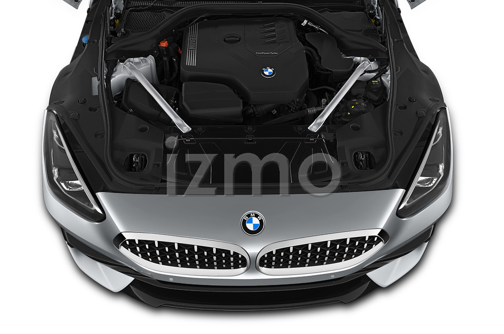 Car Stock 2019 BMW Z4 Sport 2 Door Convertible Engine  high angle detail view