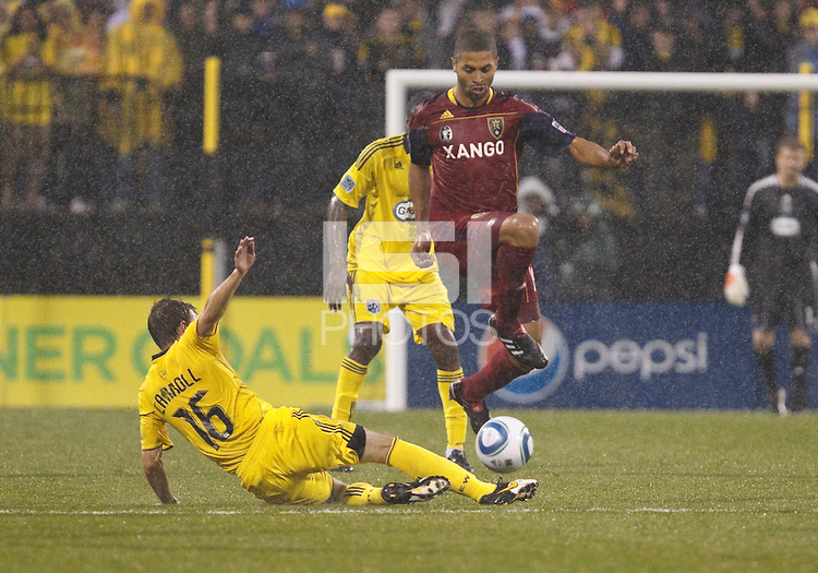 24 APRIL 2010:  Brian Carroll of the Columbus Crew (16) and Real Salt Lakes' Alvaro Saborio (15) during the Real Salt Lake at Columbus Crew MLS soccer game in Columbus, Ohio. Columbus Crew defeated RSL 1-0 on April 24, 2010.