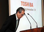 February 14, 2017, Tokyo, Japan - Japan's troubled electronics giant Toshiba president Satoshi Tsunakawa bows his head as he announces the company's third quarter financial result at the Toshiba headquarters in Tokyo on Tuesday, February 14, 2017. Toshiba chairman Shigenori Shiga will step down to take responsibility for the huge loss of a 712.5 billion yen (6.3 billion US dollars) on its nuclear business in the United States.   (Photo by Yoshio Tsunoda/AFLO) LwX -ytd