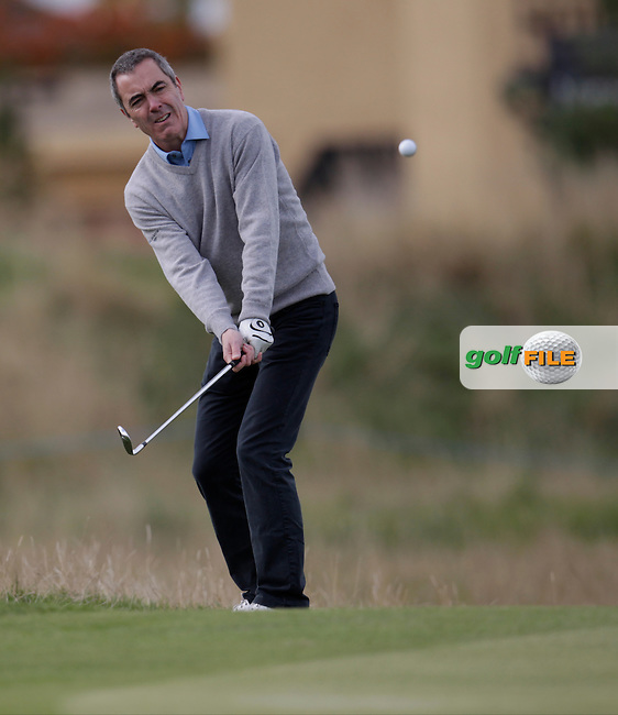 James Nesbitt (AM) on day one of the Alfred Dunhill links Championship Old Course, St Andrews, Fife, Scotland.<br /> <br /> Picture Fran Caffrey www.golffile.ie