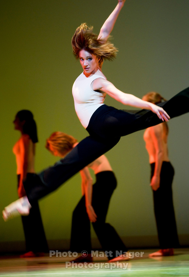 Trista Jennings (cq) jumps during a rehearsal for Batucada during the Meadows Dance Ensemble at the Bob Hope Theater in the Owens Arts Center at Southern Methodist University in Dallas, Texas, Tuesday, April 1, 2008. The act includes 25 dancers...MATT NAGER/ SPECIAL CONTRIBUTER