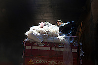 2011 Mokattam Garbage City (alla periferia del Cairo) il quartiere copto dove si vive in mezzo alla spazzatura raccolta: un ragazzo lavora su un camion pieno di rifiuti.(on the outskirts of Cairo) the Coptic quarter where people live amid the refuse collection: a boy working on a truck full of waste.