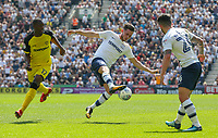Preston North End's Alan Browne brings the ball under control under pressure from Burton Albion's Marvin Sordell<br /> <br /> Photographer Alex Dodd/CameraSport<br /> <br /> The EFL Sky Bet Championship - Preston North End v Burton Albion - Sunday 6th May 2018 - Deepdale Stadium - Preston<br /> <br /> World Copyright &copy; 2018 CameraSport. All rights reserved. 43 Linden Ave. Countesthorpe. Leicester. England. LE8 5PG - Tel: +44 (0) 116 277 4147 - admin@camerasport.com - www.camerasport.com