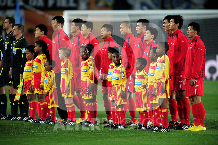 Korea DPR line up before the 2010 FIFA World Cup South Africa Group G match between Brazil and North Korea at Ellis Park Stadium on June 15, 2010 in Johannesburg, South Africa.