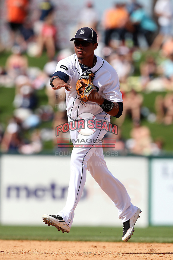 Detroit Tigers second baseman Argenis Diaz #70 during a Spring Training game vs the Philadelphia Phillies at Joker Marchant Stadium in Lakeland, Florida;  March 6, 2011.  Detroit defeated Philadelphia 2-1.  Photo By Mike Janes/Four Seam Images