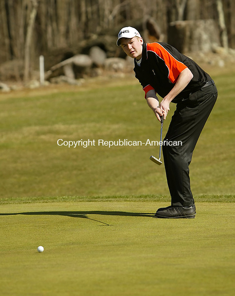 LITCHFIELD, CT, 04/16/09- 041609BZ07-   Terryville's Mike Dorosh watches his putt on the second hole at Stonybrook Golf Course Thursday afternoon..<br />  Jamison C. Bazinet Republican-American