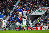 10th February 2019, Twickenham Stadium, London, England; Guinness Six Nations Rugby, England versus France; Felix Lambey of France wins a line out from George Kruis of England
