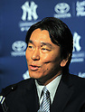 Hideki Matsui,<br /> JULY 28, 2013 - MLB :<br /> Hideki Matsui signs a one-day minor league contract with the New York Yankees prior to his official retirement ceremony before the Major League Baseball game against the Tampa Bay Rays at Yankee Stadium in The Bronx, New York, United States. (Photo by AFLO)