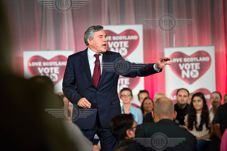 Ex-Prime Minister Gordon Brown addresses supporters at a final eve of poll rally for the 'No' to Scottish independence, 'Better Together' campaign in Glasgow. His campaigning was given much credit for the final result, 45 percent for and 55 percent against independence.