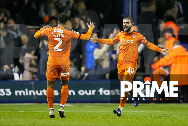 Elliott Lee of Luton Town celebrates scoring his second and making it 3-0 during the Sky Bet League 1 match between Luton Town and Bradford City at Kenilworth Road, Luton, England on 27 November 2018. Photo by Thomas Gadd.