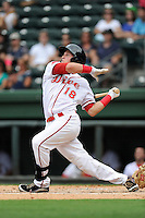 Left fielder Kevin Mager (24) of the Greenville Drive bats in a game against the Asheville Tourists on Sunday, July 20, 2014, at Fluor Field at the West End in Greenville, South Carolina. Asheville won game two of a doubleheader, 3-2. (Tom Priddy/Four Seam Images)