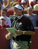 "Washington Redskins head coach Steve Spurrier watches fourth quarter action against the Arizona Cardinals at Fed Ex Field on Sunday, September 8, 2002.  It was Spurrier's first game as head coach and marked the debut of his ""Fun and Gun"" offense.  The Redskins won the game 31 - 23.<br /> Credit: Arnie Sachs / CNP"