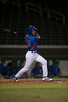 AZL Cubs second baseman Miguel Pabon (13) follows through on his swing during an Arizona League game against the AZL Brewers at Sloan Park on June 29, 2018 in Mesa, Arizona. The AZL Cubs 1 defeated the AZL Brewers 7-1. (Zachary Lucy/Four Seam Images)