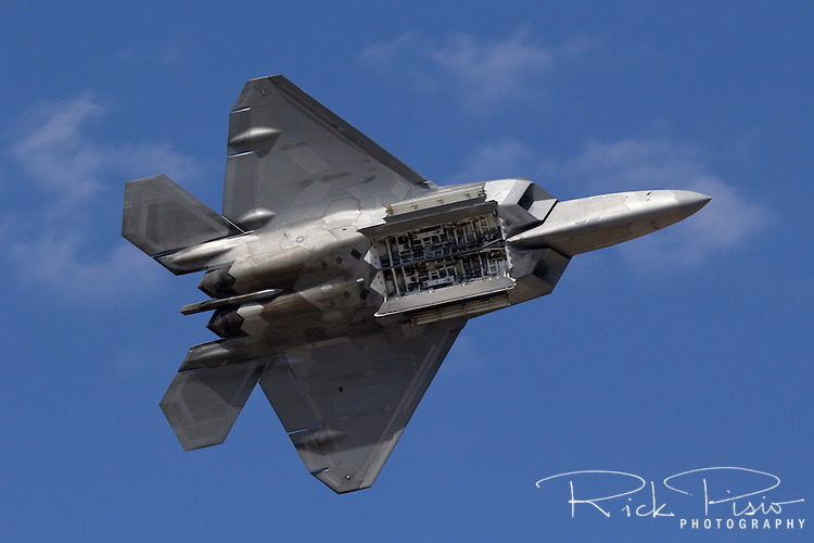 F-22 Raptor displays its weapons bay. The F-22 Raptor first entered service in 2005 after 20 years of development. In December of 2011 the 195th, and final, F-22 Raptor rolled off the Lockheed assembly line.