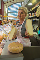 France, Aquitaine, Pyrénées-Atlantiques, Pays Basque, Biarritz:  Les Halles de Biarritz - Odile de la Fromagerie Olga  //  France, Pyrenees Atlantiques, Basque Country, Biarritz: Biarritz Market-house, cheese shop: Olga [Non destiné à un usage publicitaire - Not intended for an advertising use]