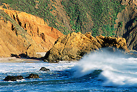 Raw energy of the  Pacific Ocean at Point Sur State Park in Southern California, along US Hwy. 1.