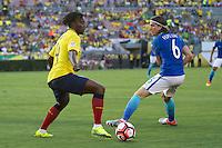 Action photo during the match Brazil vs Ecuador, Corresponding Group -B- America Cup Centenary 2016, at Rose Bowl Stadium<br /> <br /> Foto de accion durante el partido Brasil vs Ecuador, Correspondiante al Grupo -B-  de la Copa America Centenario USA 2016 en el Estadio Rose Bowl, en la foto: (i-d) Juan Carlos Paredes de Ecuador y Filipe Luis de Brasil<br /> <br /> <br /> 04/06/2016/MEXSPORT/Victor Posadas.
