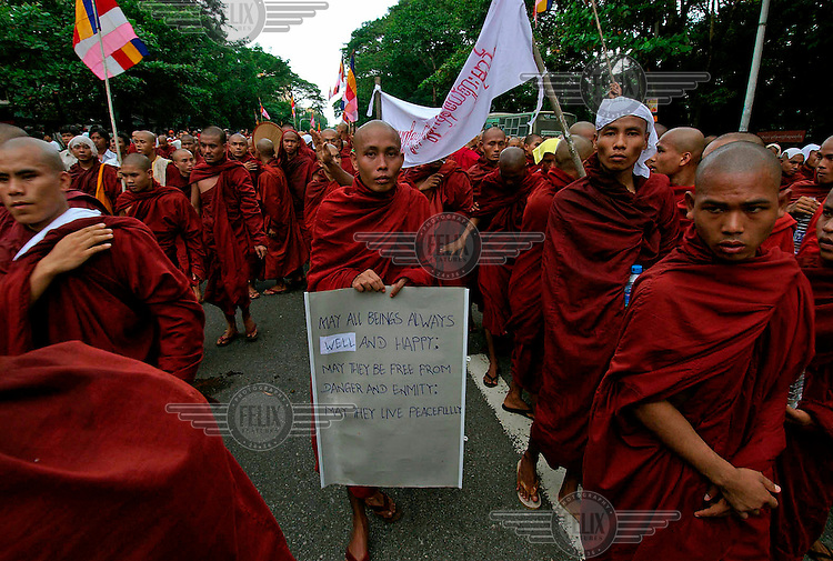 Protests led by Buddhist monks calling for the overthrow of the country's military junta continued despite a new threat that the military would shoot on sight any gatherings of over four people.