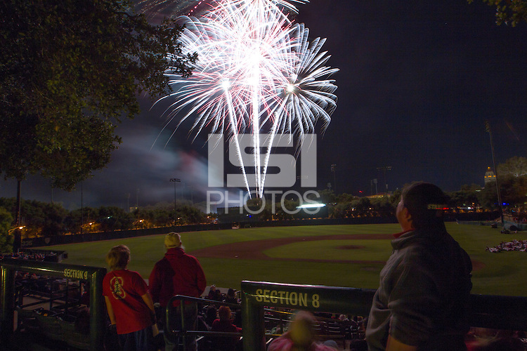 STANFORD, CA.,May 16, 2014.,--A fireworks display after Friday baseball game against Washington State . Stanford beat Washington State 5-2