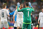Real Madrid's Toni Kroos, Lucas Vazquez, Cristiano Ronaldo and Keylor Navas celebrate the victory in the Champions League 2015/2016 Quarter-finals 2nd leg match. April 12,2016. (ALTERPHOTOS/Acero)