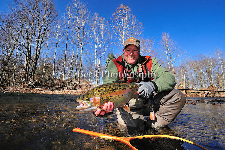 Fly fishing, Tom Harris and a large rainbow  trout