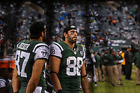New York Jets players react as their team lost against Buffalo Bills, during their NFL game at MetLife Stadium in New Jersey. 09.05.2014. VIEWpress