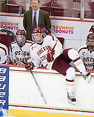 Edwin Shea (BC - 8), Greg Brown (BC - Assistant Coach), Brian Dumoulin (BC - 2), Destry Straight (BC - 17) - The visiting Merrimack College Warriors tied the Boston College Eagles at 2 on Sunday, January 8, 2011, at Kelley Rink/Conte Forum in Chestnut Hill, Massachusetts.