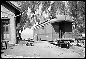 RGS outfit coach #0260 at Ridgway, with the office building on the left.<br /> RGS  Ridgway, CO  ca. 1950