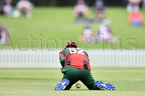 17th January 2018, Hagley Oval, Christchurch, New Zealand; Under 19 Cricket World Cup, New Zealand versus Kenya;  Kenya's Aman Gandhi drops the catch off New Zealand's Rachin Ravindra