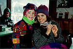 "One Life To Live Tyler Noyes ""CJ Roberts"" poses with castmate Laura Bonarrigo ""Cassie Callison"" while sking at Hunter Mountain, New York with other OLTL castmates. (Photo by Sue Coflin/Max Photos)"