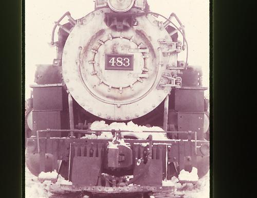 A close-up, head-on view of D&amp;RGW #483.<br /> D&amp;RGW