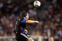 San Jose Earthquakes defender Bobby Burling (2) leaps for a clearing ball. The LA Galaxy and the San Jose Earthquakes played to a 2-2 draw at Home Depot Center stadium in Carson, California on Thursday July 22, 2010.