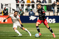 WASHINGTON, DC - FEBRUARY 29: Keegan Rosenberry #2 of the Colorado Rapids moves up on Ulises Segura #8 of DC United during a game between Colorado Rapids and D.C. United at Audi Field on February 29, 2020 in Washington, DC.
