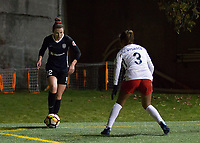 Seattle, WA - Saturday March 24, 2018: Morgan Andrews, Caprice Dydasco during a regular season National Women's Soccer League (NWSL) match between the Seattle Reign FC and the Washington Spirit at the UW Medicine Pitch at Memorial Stadium. The Seattle Reign FC won 2-1.