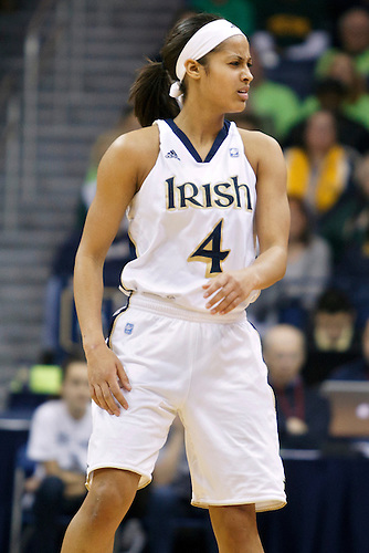 Notre Dame guard Skylar Diggins (#4) reacts to missed pass in second half action of NCAA Women's basketball game between South Florida and Notre Dame.  The Notre Dame Fighting Irish defeated the South Florida Bulls 80-68 in game at Purcell Pavilion at the Joyce Center in South Bend, Indiana.