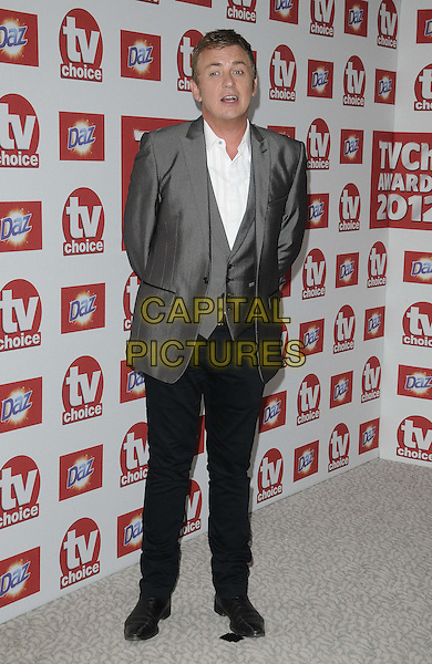 Shane Richie.The TV Choice Awards at the Dorchester Hotel, Park Lane, London, England..September 10th 2012.full length grey gray suit white shirt waistcoat.CAP/CAN.©Can Nguyen/Capital Pictures.